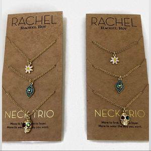 Rachel Roy Evil Eye Skull & Flower Necklace Trio